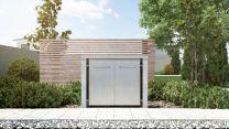 Mülltonnenbox Flachdach Plandesign Granit 240 Liter 2 Mülltonnen
