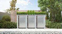 Mülltonnenbox Pflanzdach 4x4 Design Granit 120 Liter 3 Mülltonnen