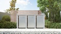 Mülltonnenbox Flachdach Plandesign Granit 120 Liter 3 Mülltonnen